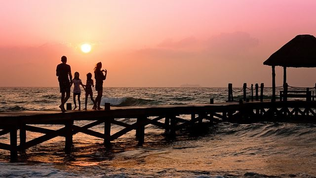Sunset,family,the sea