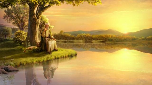 Job,sunset,lake