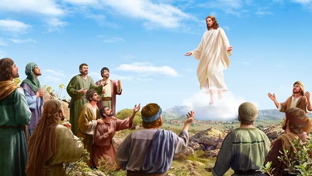 Ο Ιησούς Χριστός ανέβηκε στον ουρανό,Κύριε Ιησού,μαθητής του Χριστού,λευκά σύννεφα