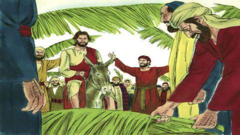 Ο Ιησούς εισέρχεται στην Ιερουσαλήμ καθισμένος σε ένα γαϊδουράκι